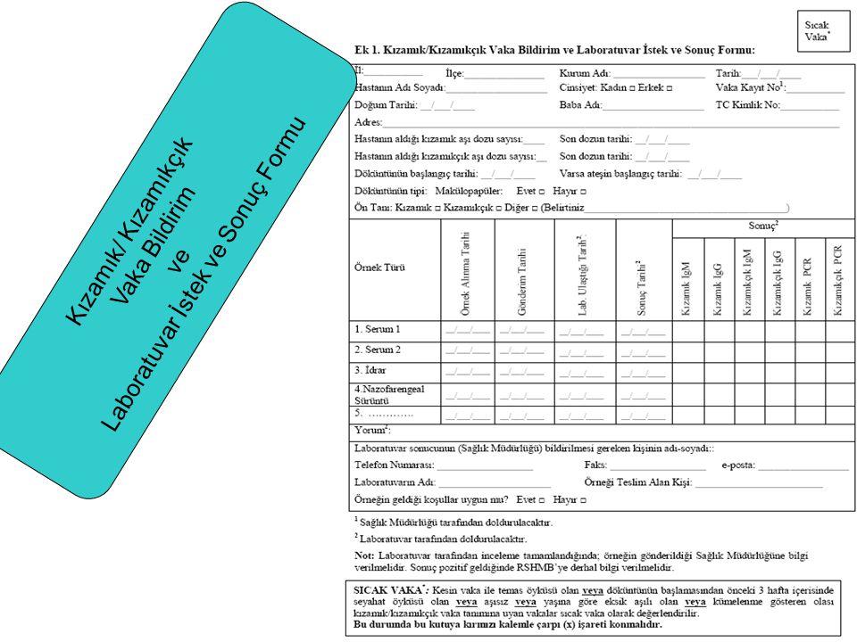Kızamık/ Kızamıkçık Vaka Bildirim ve Laboratuvar İstek ve Sonuç Formu