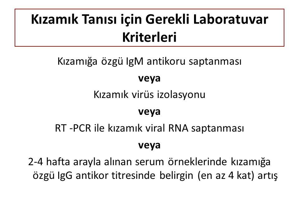 Kızamık Tanısı için Gerekli Laboratuvar Kriterleri Kızamığa özgü IgM antikoru saptanması veya Kızamık virüs izolasyonu veya RT -PCR ile kızamık viral