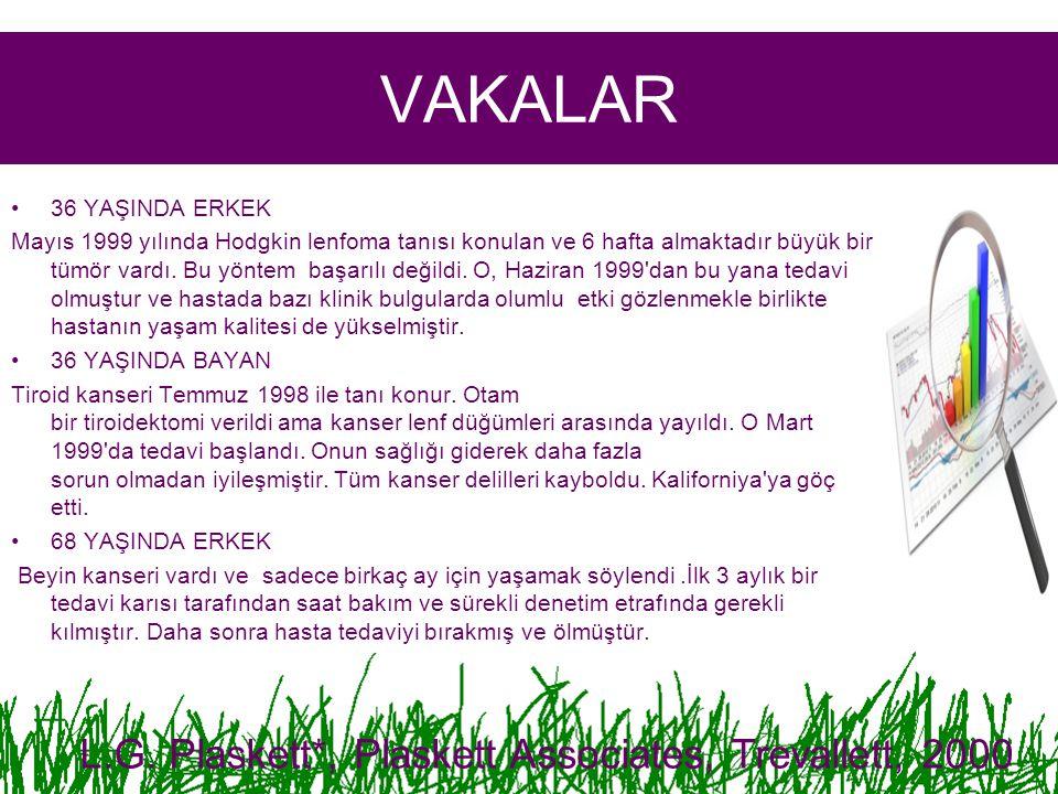VAKALAR 36 YAŞINDA ERKEK Mayıs 1999 yılında Hodgkin lenfoma tanısı konulan ve 6 hafta almaktadır büyük bir tümör vardı.