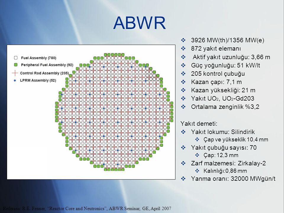 ABWR  3926 MW(th)/1356 MW(e)  872 yakıt elemanı  Aktif yakıt uzunluğu: 3,66 m  Güç yoğunluğu: 51 kW/lt  205 kontrol çubuğu  Kazan çapı: 7,1 m  Kazan yüksekliği: 21 m  Yakıt UO 2, UO 2 -Gd203  Ortalama zenginlik %3,2 Yakıt demeti:  Yakıt lokumu: Silindirik  Çap ve yükseklik 10,4 mm  Yakıt çubuğu sayısı: 70  Çap: 12,3 mm  Zarf malzemesi: Zirkalay-2  Kalınlığı:0,86 mm  Yanma oranı: 32000 MWgün/t  3926 MW(th)/1356 MW(e)  872 yakıt elemanı  Aktif yakıt uzunluğu: 3,66 m  Güç yoğunluğu: 51 kW/lt  205 kontrol çubuğu  Kazan çapı: 7,1 m  Kazan yüksekliği: 21 m  Yakıt UO 2, UO 2 -Gd203  Ortalama zenginlik %3,2 Yakıt demeti:  Yakıt lokumu: Silindirik  Çap ve yükseklik 10,4 mm  Yakıt çubuğu sayısı: 70  Çap: 12,3 mm  Zarf malzemesi: Zirkalay-2  Kalınlığı:0,86 mm  Yanma oranı: 32000 MWgün/t Referans: R.E.