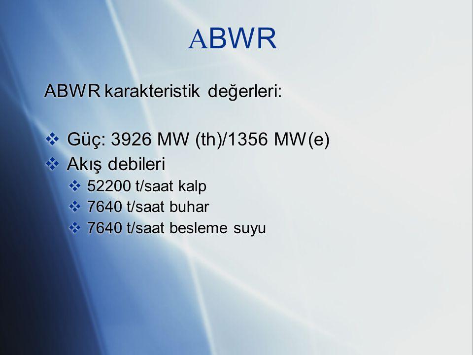 A BWR ABWR karakteristik değerleri:  Güç: 3926 MW (th)/1356 MW(e)  Akış debileri  52200 t/saat kalp  7640 t/saat buhar  7640 t/saat besleme suyu