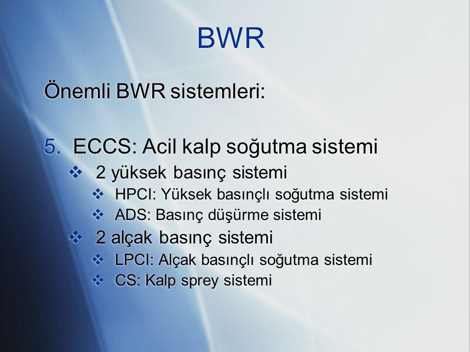 BWR Önemli BWR sistemleri: 5. ECCS: Acil kalp soğutma sistemi  2 yüksek basınç sistemi  HPCI: Yüksek basınçlı soğutma sistemi  ADS: Basınç düşürme