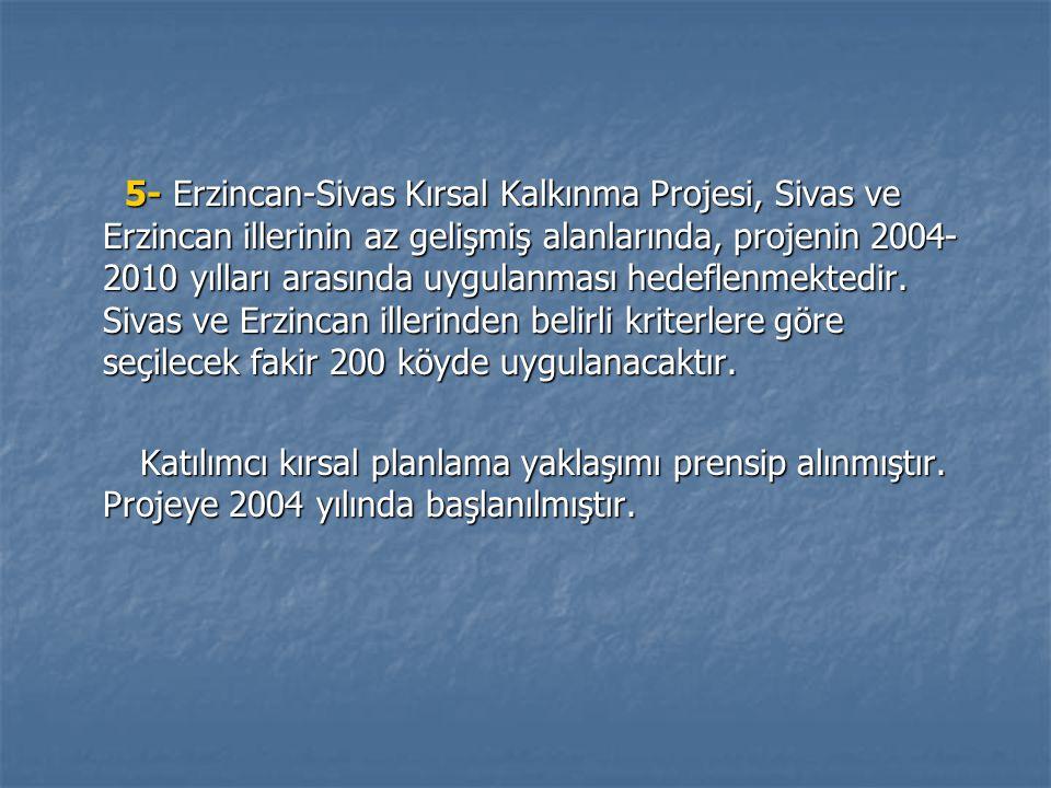 5- Erzincan-Sivas Kırsal Kalkınma Projesi, Sivas ve Erzincan illerinin az gelişmiş alanlarında, projenin 2004- 2010 yılları arasında uygulanması hedeflenmektedir.