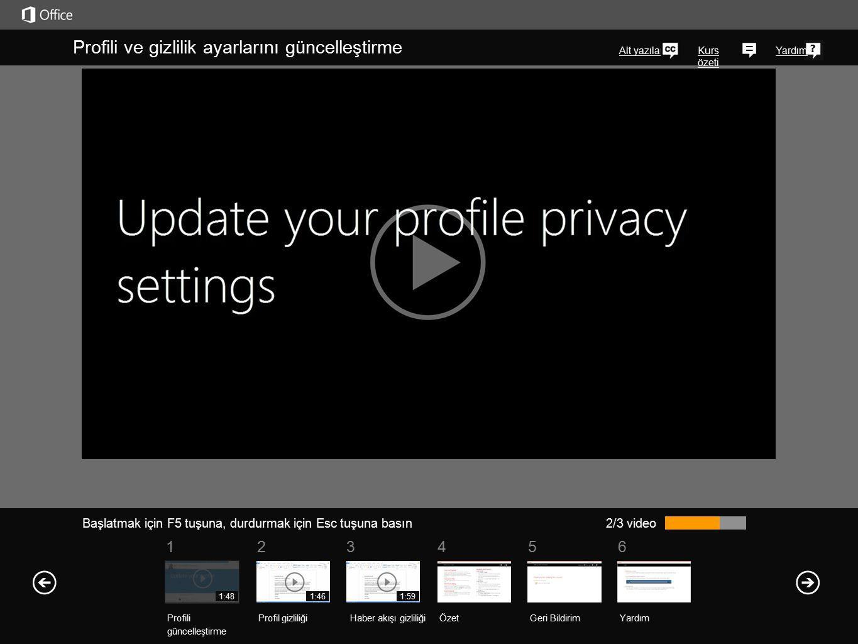 561234 Kurs özeti Yardım Haber akışı gizlilik ayarlarınızı istediğiniz zaman, doğrudan profil sayfalarınızdan değiştirebilirsiniz.