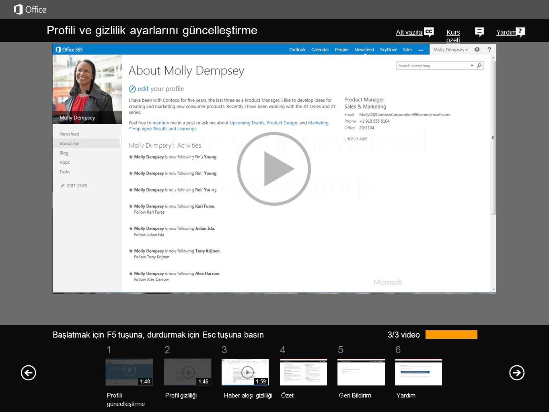 Profilinizi bulma Kuruluşunuzun SharePoint 2013 veya Office 365 web sayfalarının herhangi birinde, sağ üst köşede profilinizin bağlantısını bulabilirsiniz.