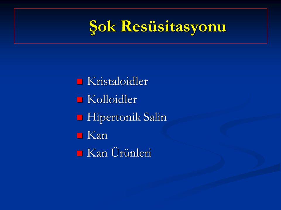 Şok Resüsitasyonu Şok Resüsitasyonu Kristaloidler Kristaloidler Kolloidler Kolloidler Hipertonik Salin Hipertonik Salin Kan Kan Kan Ürünleri Kan Ürünl