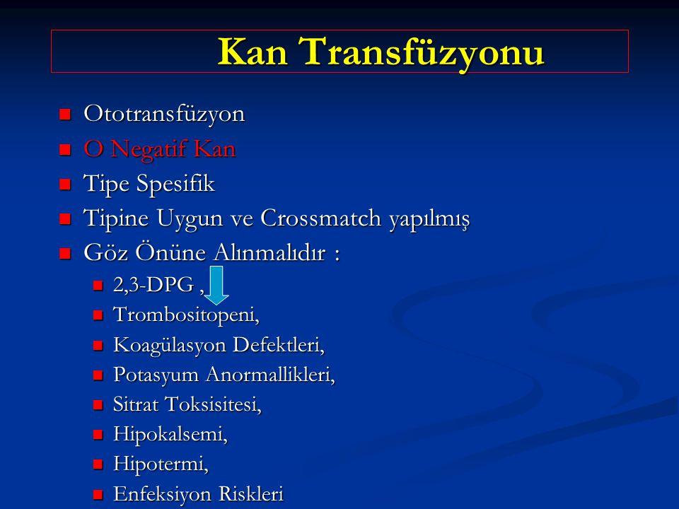 Kan Transfüzyonu Kan Transfüzyonu Ototransfüzyon Ototransfüzyon O Negatif Kan O Negatif Kan Tipe Spesifik Tipe Spesifik Tipine Uygun ve Crossmatch yapılmış Tipine Uygun ve Crossmatch yapılmış Göz Önüne Alınmalıdır : Göz Önüne Alınmalıdır : 2,3-DPG, 2,3-DPG, Trombositopeni, Trombositopeni, Koagülasyon Defektleri, Koagülasyon Defektleri, Potasyum Anormallikleri, Potasyum Anormallikleri, Sitrat Toksisitesi, Sitrat Toksisitesi, Hipokalsemi, Hipokalsemi, Hipotermi, Hipotermi, Enfeksiyon Riskleri Enfeksiyon Riskleri