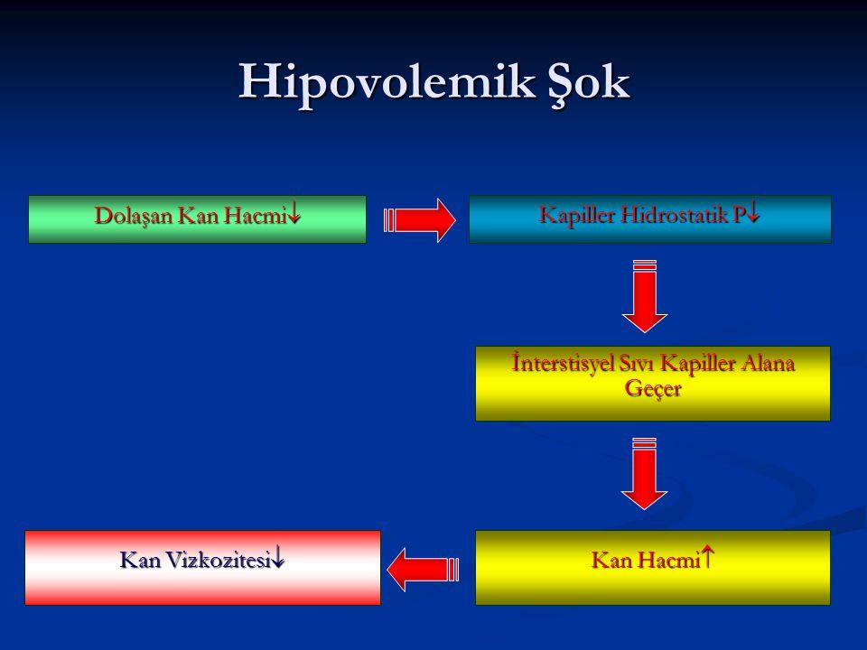 Dolaşan Kan Hacmi  Kapiller Hidrostatik P  Hipovolemik Şok İnterstisyel Sıvı Kapiller Alana Geçer Kan Vizkozitesi  Kan Hacmi 