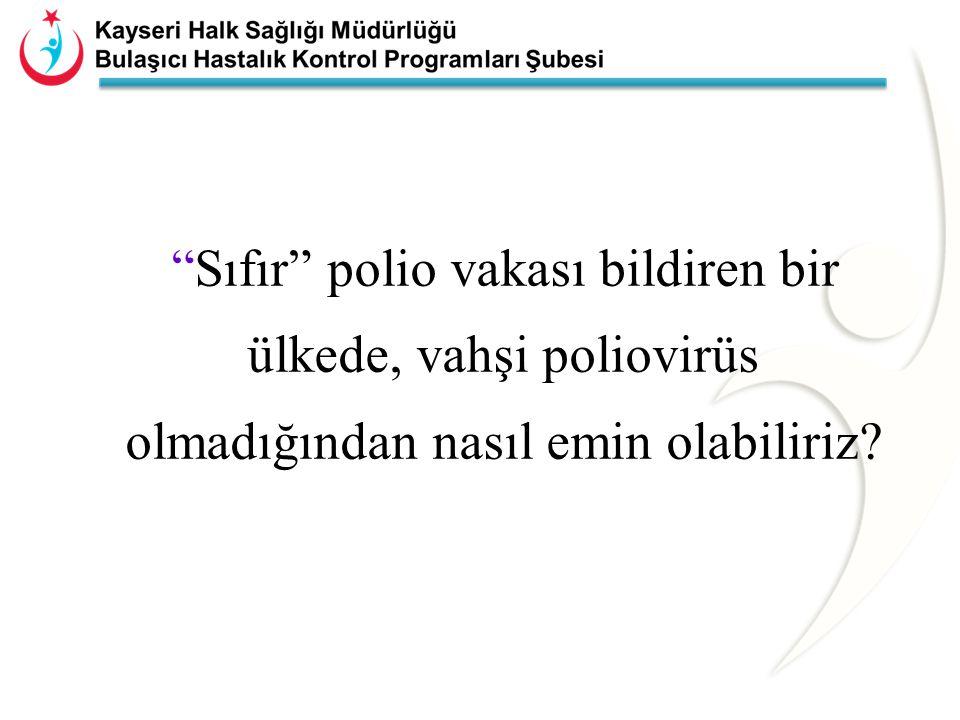 POLİO ERADİKASYONU STRATEJİLERİ Rutin aşılama çalışmaları Destek aşılama çalışmaları –Ulusal aşı günleri –Mop-up aşılama çalışmaları AFP ve vahşi poliovirus sürveyansı
