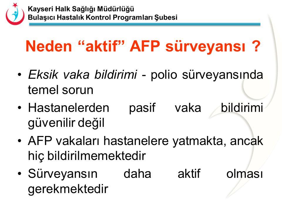 AFP vakalarının araştırılmasındaki beklentiler Vakalar paralizinin başlangıcından itibaren ilk 7 günde bildirilmeli Vakalar bildirimden sonra 48 saat içinde incelenmeli AFP vakalarının en az % 80'inden uygun gaita numunesi alınmalı AFP vakalarının takibi 60.