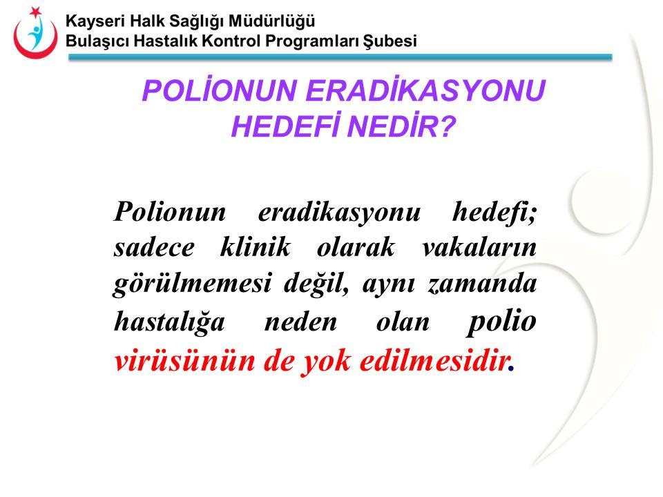 Poliomyelit açısından yüksek riskli bölge:  0 yaş grubu 5'li karma aşı 3.dozu %95 ve OPV aşı oranı %90'in altında kalan bölgeler  AFP sürveyans göstergeleri hedefin altında kalan bölgeler  Poliomyelit epidemiyolojisi ve vahşi virüs yayılımı dikkate alındığında risk altında olduğu düşünülen bölgeler: ØKötü alt yapı koşullarına sahip yöreler (gecekondu bölgeleri gibi), ØVahşi poliovirüs vakasının en son görüldüğü iller(Şanlıurfa, Ağrı vb..) ve onlara komşu bölgeler, ØGöç alan ve nüfus hareketlerinin yoğun olduğu yöreler (tarım işçisi, göçerler, mülteci, kaçak giriş, sınır ticareti olan alanlar, liman vs giriş kapısı olan alanlar)