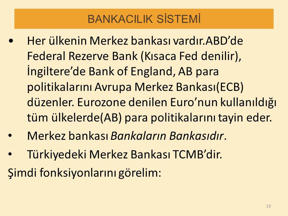 BANKACILIK SİSTEMİ Her ülkenin Merkez bankası vardır.ABD'de Federal Rezerve Bank (Kısaca Fed denilir), İngiltere'de Bank of England, AB para politikal