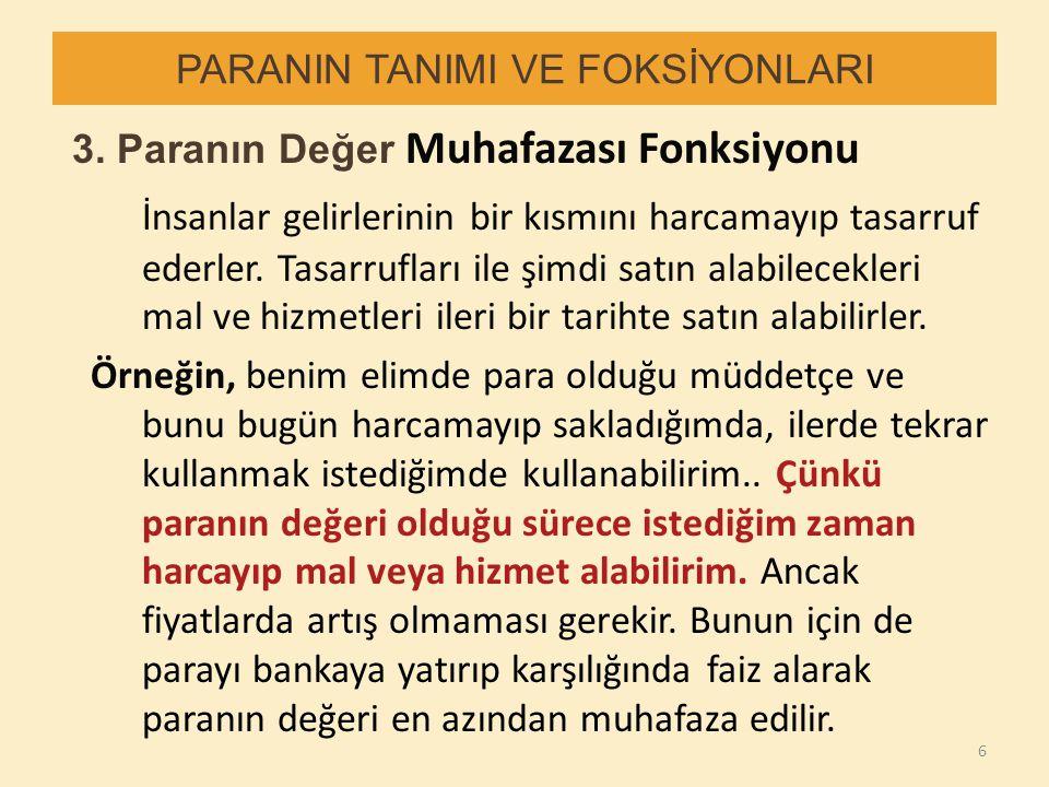 PARANIN TANIMI VE FOKSİYONLARI 3.