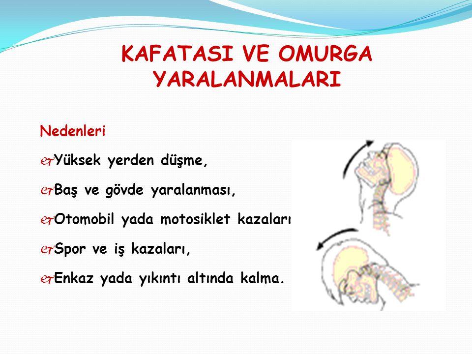 KAFATASI VE OMURGA YARALANMALARI İlk yardım Bilinç kontrolü yapılır.