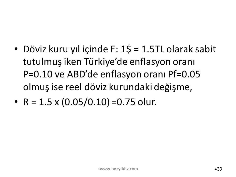 Döviz kuru yıl içinde E: 1$ = 1.5TL olarak sabit tutulmuş iken Türkiye'de enflasyon oranı P=0.10 ve ABD'de enflasyon oranı Pf=0.05 olmuş ise reel dövi