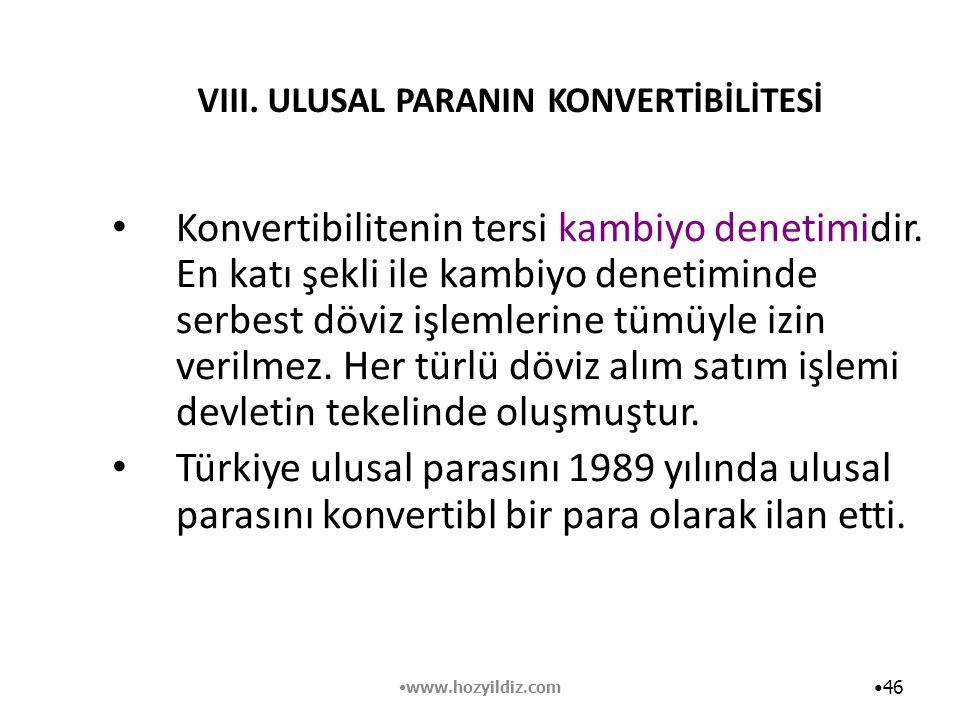 VIII. ULUSAL PARANIN KONVERTİBİLİTESİ Konvertibilitenin tersi kambiyo denetimidir. En katı şekli ile kambiyo denetiminde serbest döviz işlemlerine tüm