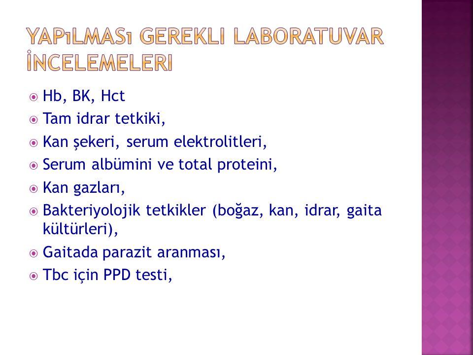  Hb, BK, Hct  Tam idrar tetkiki,  Kan şekeri, serum elektrolitleri,  Serum albümini ve total proteini,  Kan gazları,  Bakteriyolojik tetkikler (
