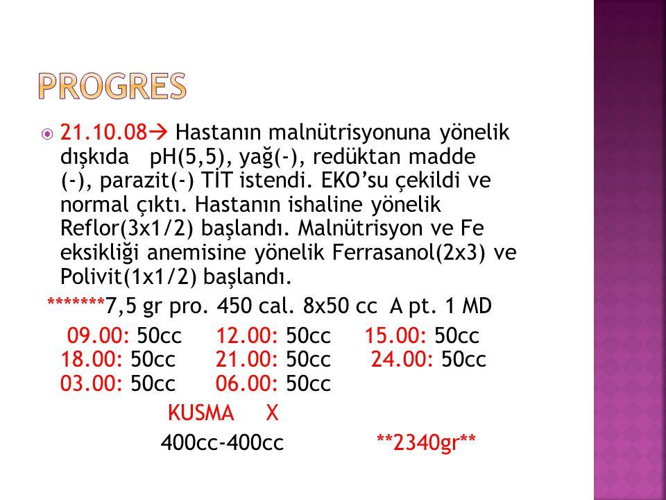  21.10.08  Hastanın malnütrisyonuna yönelik dışkıda pH(5,5), yağ(-), redüktan madde (-), parazit(-) TİT istendi. EKO'su çekildi ve normal çıktı. Has