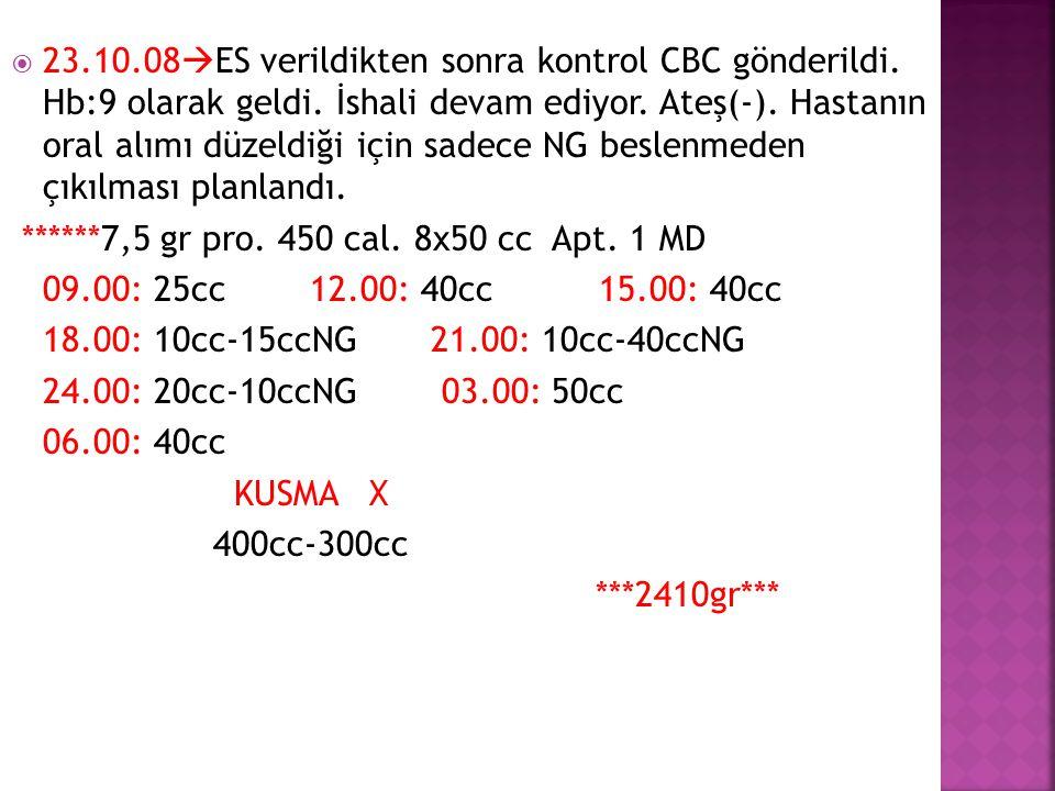  23.10.08  ES verildikten sonra kontrol CBC gönderildi. Hb:9 olarak geldi. İshali devam ediyor. Ateş(-). Hastanın oral alımı düzeldiği için sadece N
