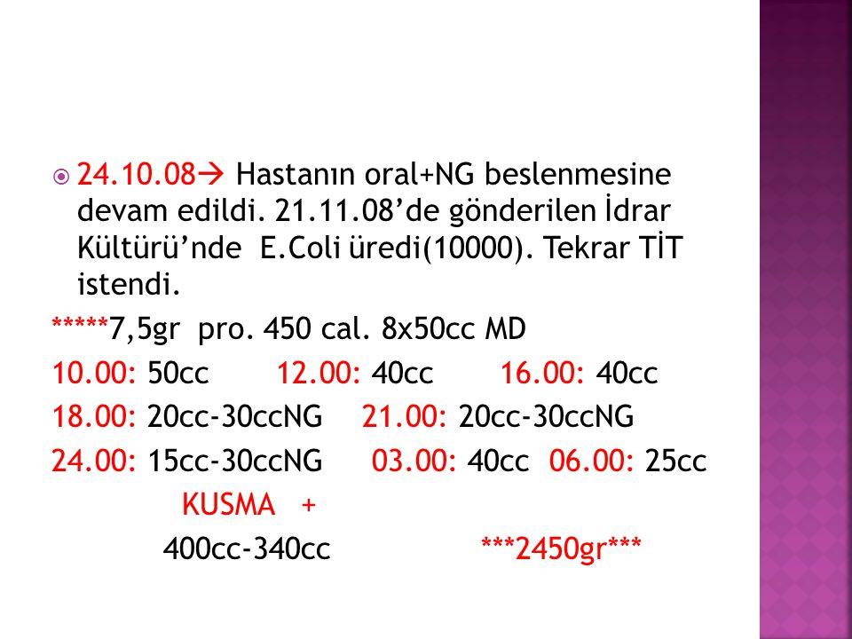  24.10.08  Hastanın oral+NG beslenmesine devam edildi. 21.11.08'de gönderilen İdrar Kültürü'nde E.Coli üredi(10000). Tekrar TİT istendi. *****7,5gr