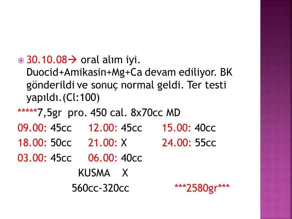  30.10.08  oral alım iyi. Duocid+Amikasin+Mg+Ca devam ediliyor. BK gönderildi ve sonuç normal geldi. Ter testi yapıldı.(Cl:100) *****7,5gr pro. 450
