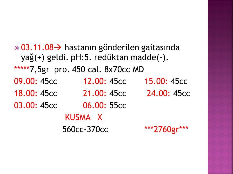 03.11.08  hastanın gönderilen gaitasında yağ(+) geldi. pH:5. redüktan madde(-). *****7,5gr pro. 450 cal. 8x70cc MD 09.00: 45cc 12.00: 45cc 15.00: 4