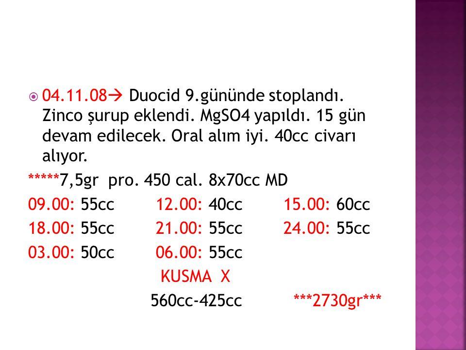  04.11.08  Duocid 9.gününde stoplandı. Zinco şurup eklendi. MgSO4 yapıldı. 15 gün devam edilecek. Oral alım iyi. 40cc civarı alıyor. *****7,5gr pro.