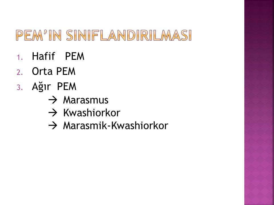 1. Hafif PEM 2. Orta PEM 3. Ağır PEM  Marasmus  Kwashiorkor  Marasmik-Kwashiorkor