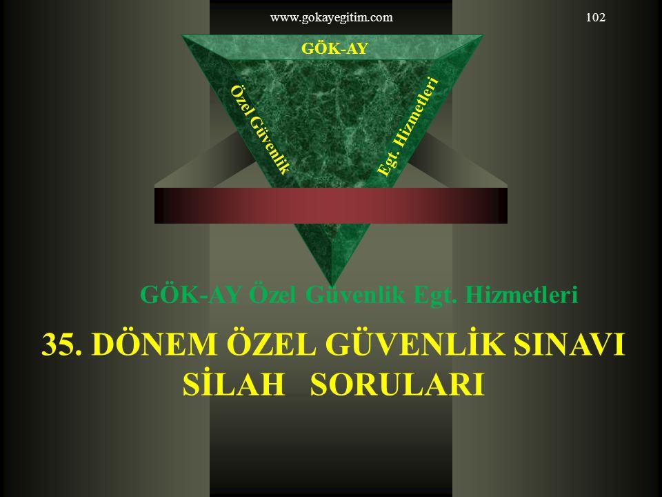 www.gokayegitim.com102 35.DÖNEM ÖZEL GÜVENLİK SINAVI SİLAH SORULARI GÖK-AY Özel Güvenlik Egt.