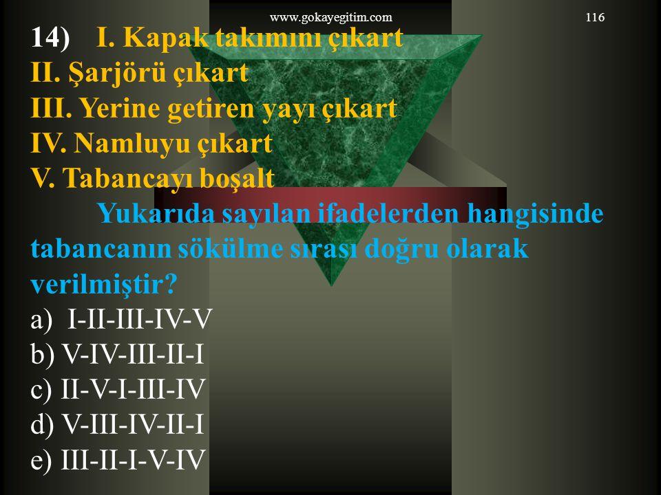 www.gokayegitim.com116 14)I. Kapak takımını çıkart II. Şarjörü çıkart III. Yerine getiren yayı çıkart IV. Namluyu çıkart V. Tabancayı boşalt Yukarıda