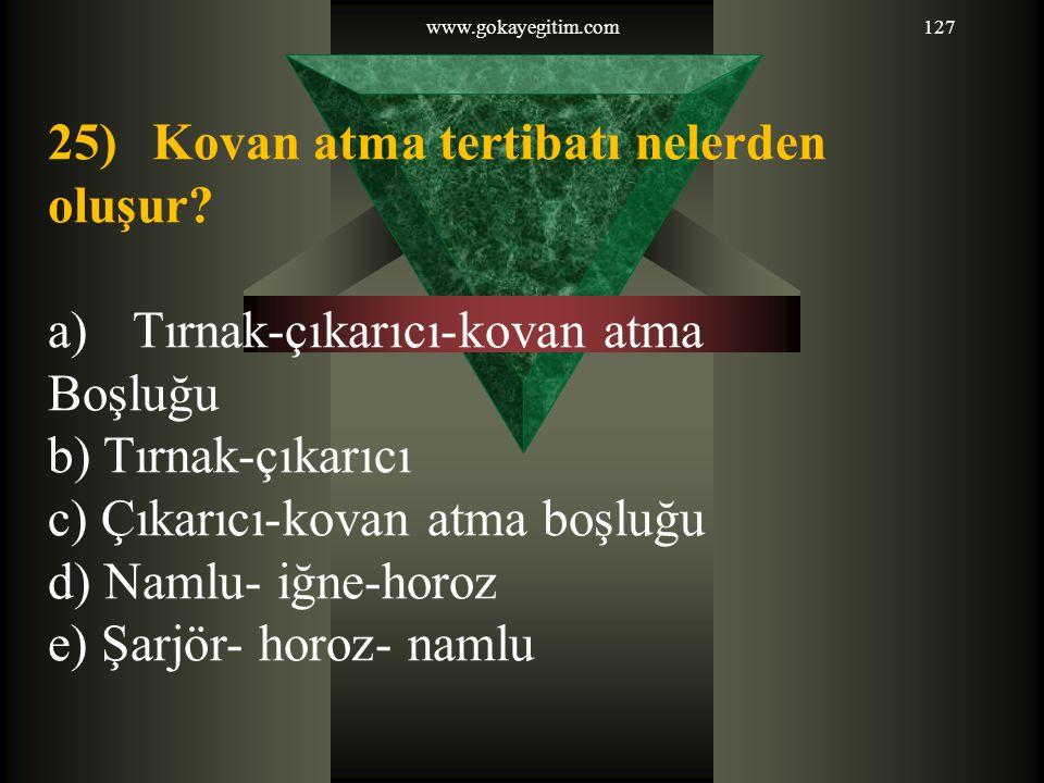 www.gokayegitim.com127 25) Kovan atma tertibatı nelerden oluşur.