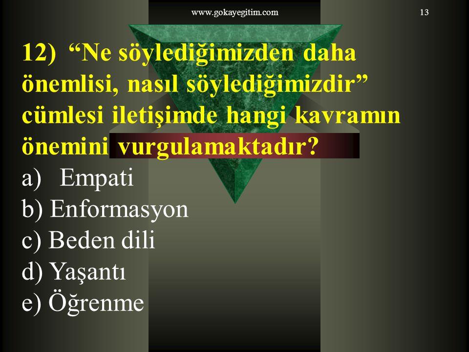 """www.gokayegitim.com13 12) """"Ne söylediğimizden daha önemlisi, nasıl söylediğimizdir"""" cümlesi iletişimde hangi kavramın önemini vurgulamaktadır? a)Empat"""