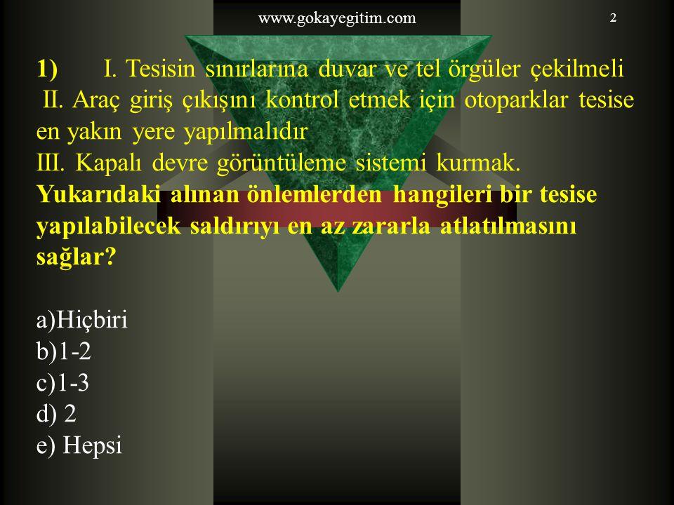 2 1) I.Tesisin sınırlarına duvar ve tel örgüler çekilmeli II.