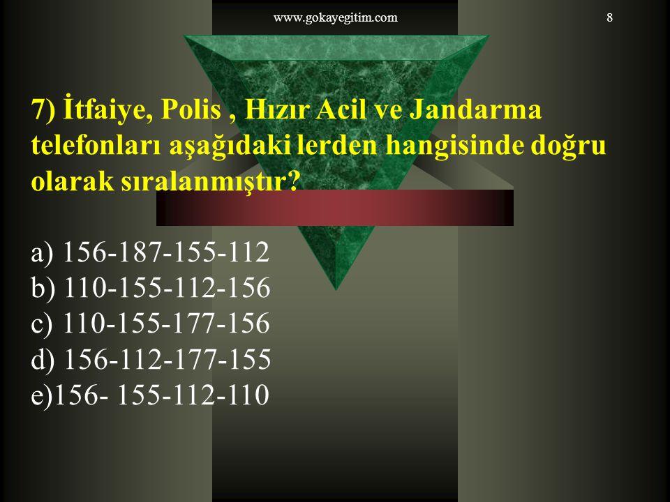 www.gokayegitim.com8 7) İtfaiye, Polis, Hızır Acil ve Jandarma telefonları aşağıdaki lerden hangisinde doğru olarak sıralanmıştır? a) 156-187-155-112