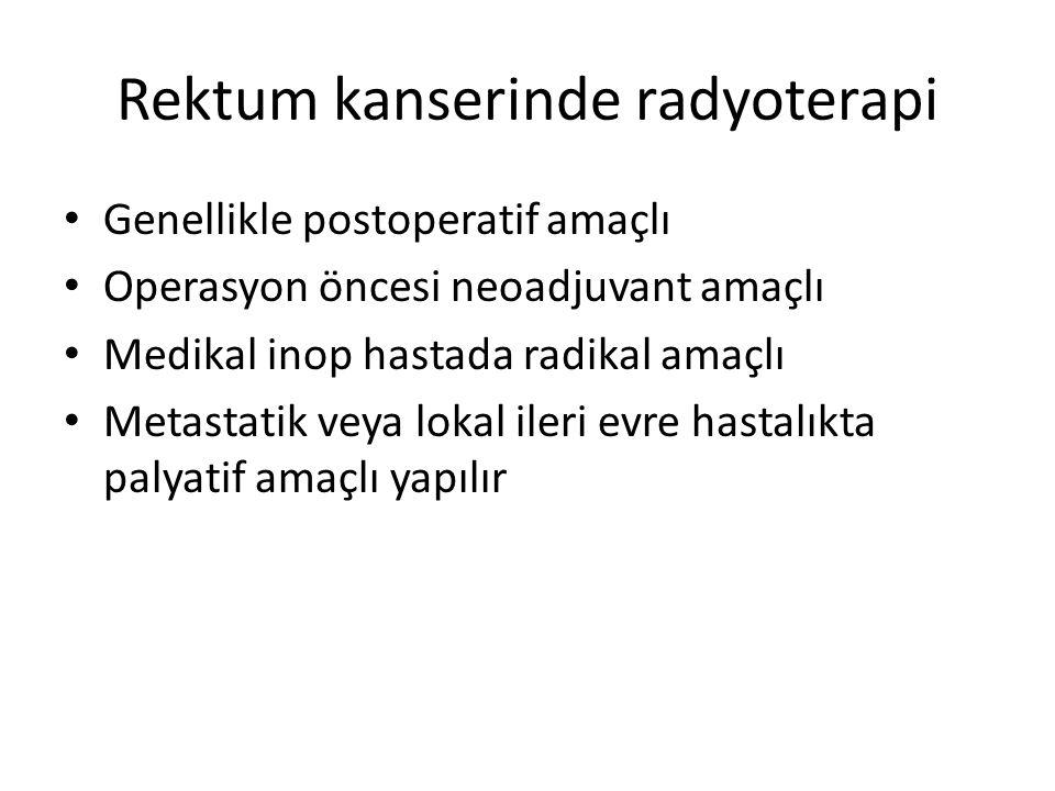 Rektum kanserinde radyoterapi Genellikle postoperatif amaçlı Operasyon öncesi neoadjuvant amaçlı Medikal inop hastada radikal amaçlı Metastatik veya lokal ileri evre hastalıkta palyatif amaçlı yapılır