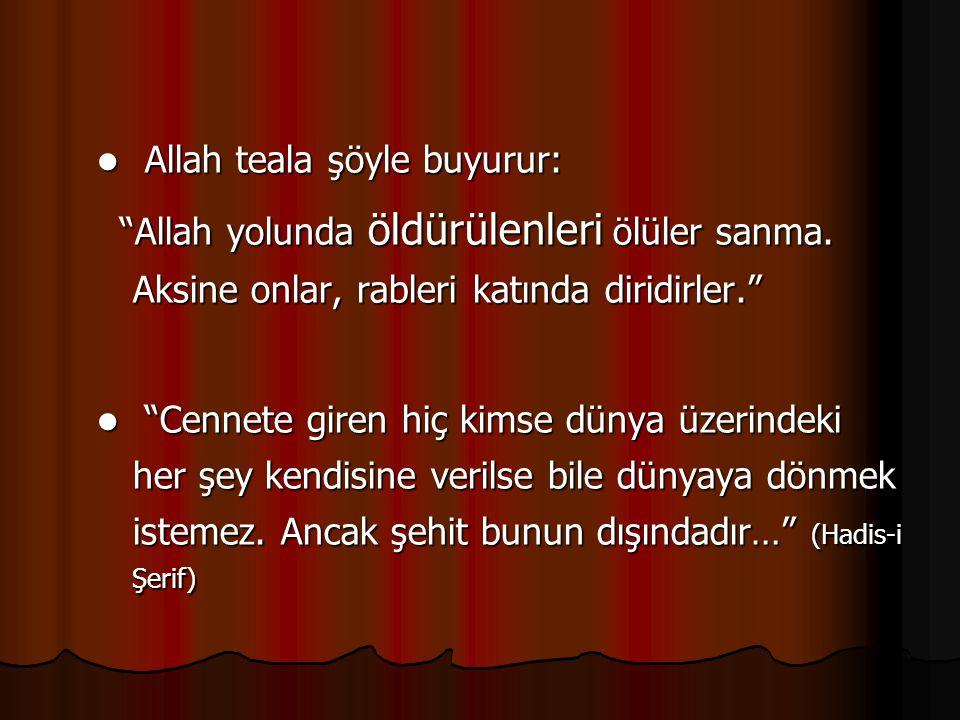 Allah teala şöyle buyurur: Allah teala şöyle buyurur: Allah yolunda öldürülenleri ölüler sanma.