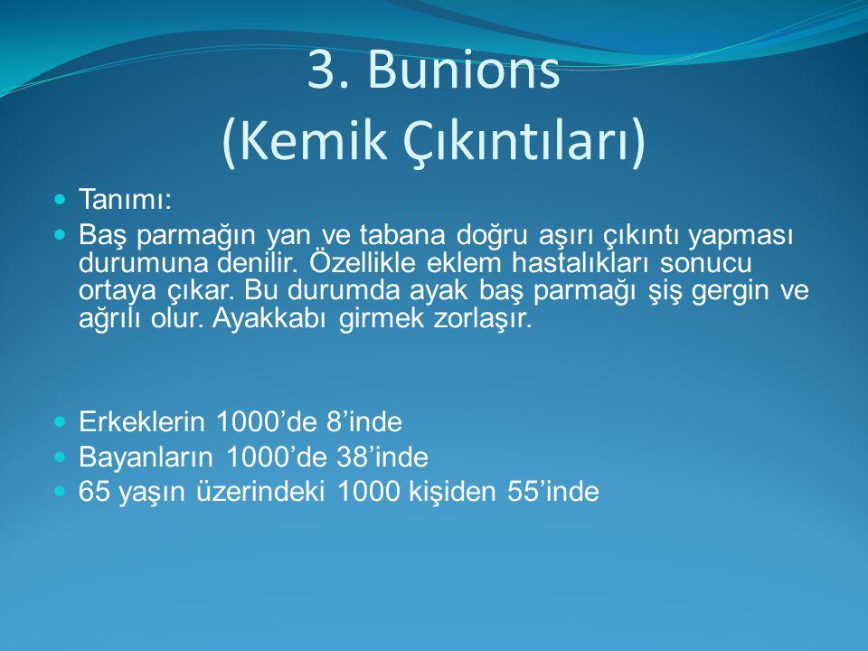 3. Bunions (Kemik Çıkıntıları) Tanımı: Baş parmağın yan ve tabana doğru aşırı çıkıntı yapması durumuna denilir. Özellikle eklem hastalıkları sonucu or