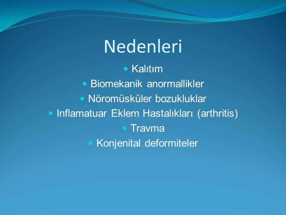 Nedenleri Kalıtım Biomekanik anormallikler Nöromüsküler bozukluklar Inflamatuar Eklem Hastalıkları (arthritis) Travma Konjenital deformiteler