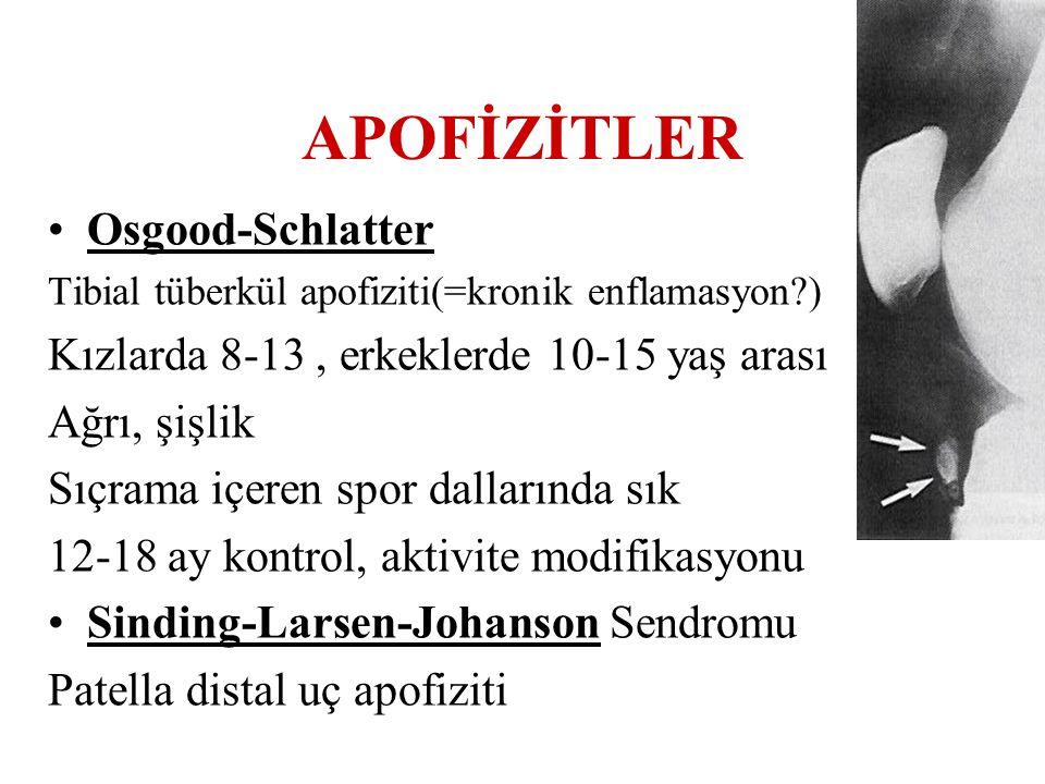 APOFİZİTLER Osgood-Schlatter Tibial tüberkül apofiziti(=kronik enflamasyon?) Kızlarda 8-13, erkeklerde 10-15 yaş arası Ağrı, şişlik Sıçrama içeren spo