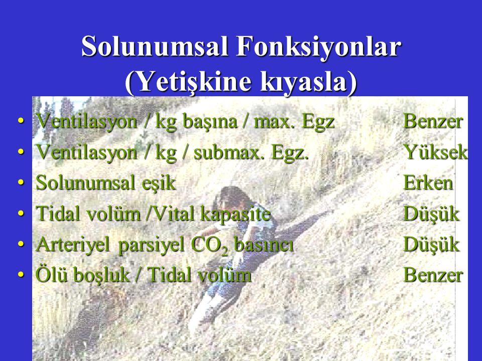 Solunumsal Fonksiyonlar (Yetişkine kıyasla) Ventilasyon / kg başına / max. EgzBenzerVentilasyon / kg başına / max. EgzBenzer Ventilasyon / kg / submax