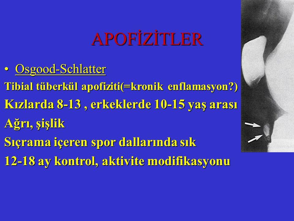 APOFİZİTLER Osgood-SchlatterOsgood-Schlatter Tibial tüberkül apofiziti(=kronik enflamasyon?) Kızlarda 8-13, erkeklerde 10-15 yaş arası Ağrı, şişlik Sı