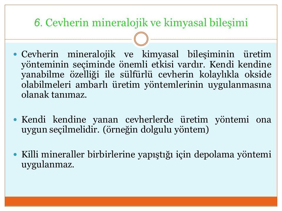 6. Cevherin mineralojik ve kimyasal bileşimi Cevherin mineralojik ve kimyasal bileşiminin üretim yönteminin seçiminde önemli etkisi vardır. Kendi kend