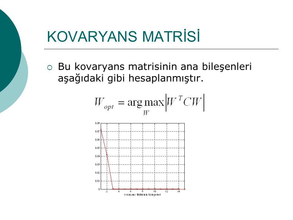 KOVARYANS MATRİSİ  Bu kovaryans matrisinin ana bileşenleri aşağıdaki gibi hesaplanmıştır.