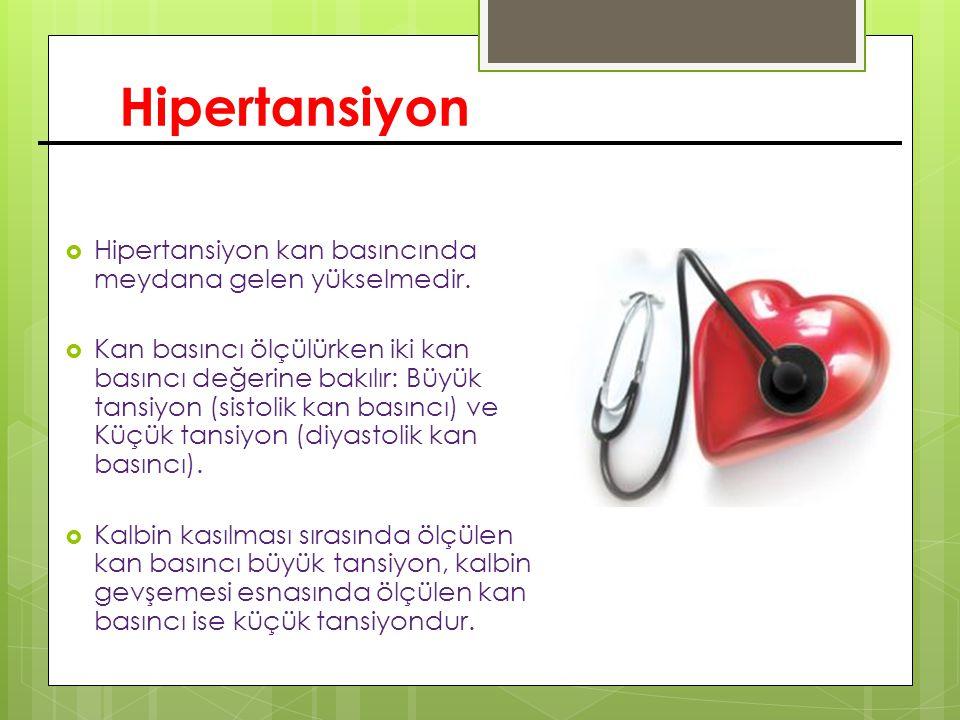 Hipertansiyon  Hipertansiyon kan basıncında meydana gelen yükselmedir.  Kan basıncı ölçülürken iki kan basıncı değerine bakılır: Büyük tansiyon (sis