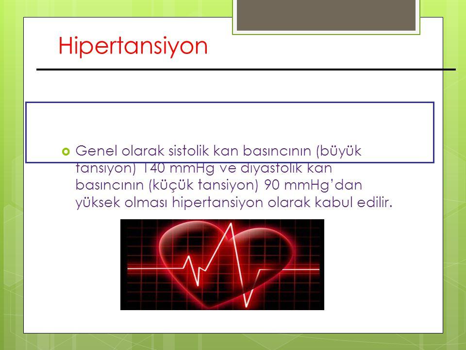 Hipertansiyon  Genel olarak sistolik kan basıncının (büyük tansiyon) 140 mmHg ve diyastolik kan basıncının (küçük tansiyon) 90 mmHg'dan yüksek olması