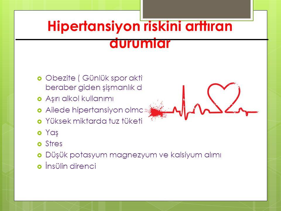 Hipertansiyon riskini arttıran durumlar  Obezite ( Günlük spor aktivitesinin olmaması ile beraber giden şişmanlık durumları )  Aşırı alkol kullanımı