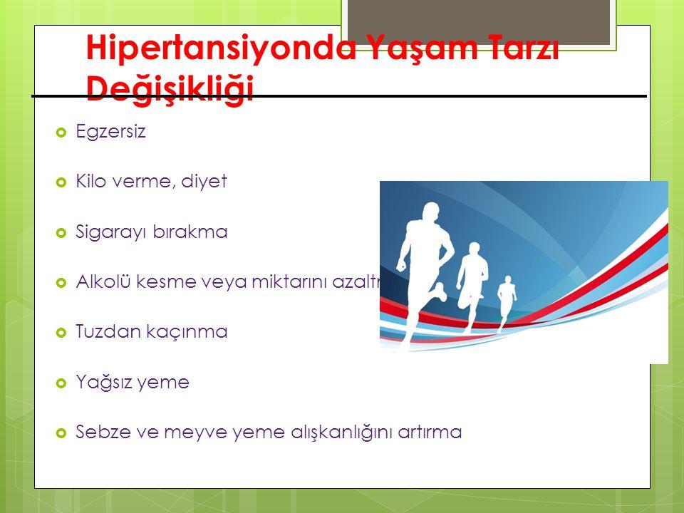 Hipertansiyonda Yaşam Tarzı Değişikliği  Egzersiz  Kilo verme, diyet  Sigarayı bırakma  Alkolü kesme veya miktarını azaltma  Tuzdan kaçınma  Yağ