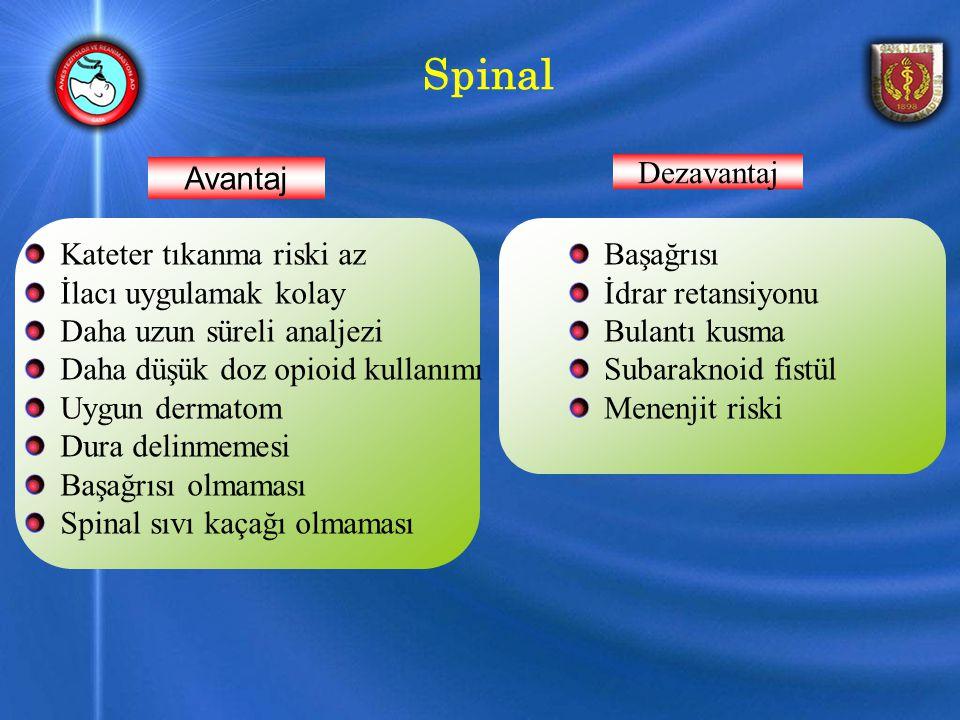 Spinal Başağrısı İdrar retansiyonu Bulantı kusma Subaraknoid fistül Menenjit riski Kateter tıkanma riski az İlacı uygulamak kolay Daha uzun süreli analjezi Daha düşük doz opioid kullanımı Uygun dermatom Dura delinmemesi Başağrısı olmaması Spinal sıvı kaçağı olmaması Avantaj Dezavantaj