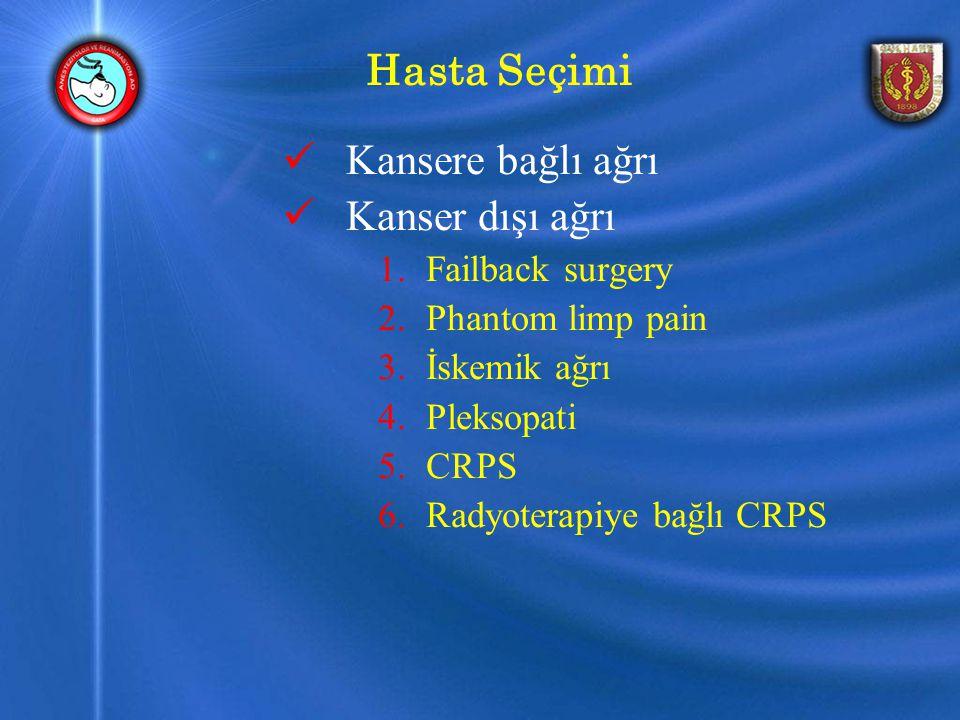 Hasta Seçimi Kansere bağlı ağrı Kanser dışı ağrı 1.Failback surgery 2.Phantom limp pain 3.İskemik ağrı 4.Pleksopati 5.CRPS 6.Radyoterapiye bağlı CRPS