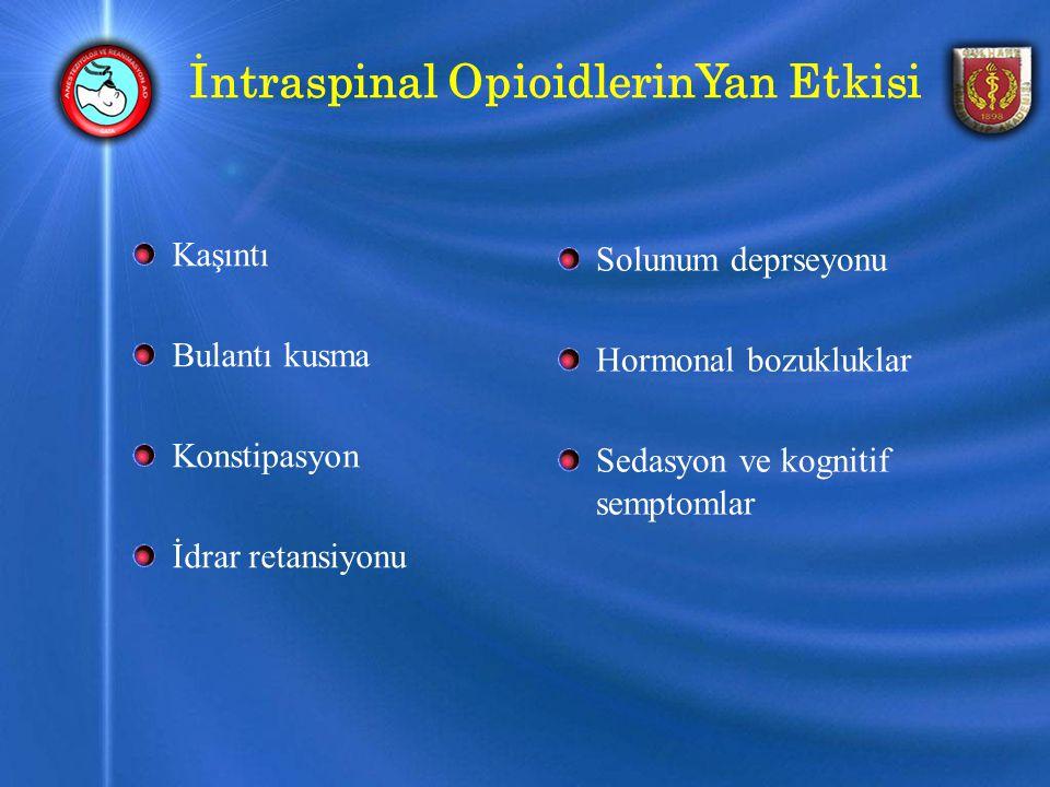 İntraspinal OpioidlerinYan Etkisi Kaşıntı Bulantı kusma Konstipasyon İdrar retansiyonu Solunum deprseyonu Hormonal bozukluklar Sedasyon ve kognitif semptomlar